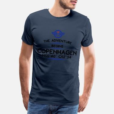 Longitude And Latitude Copenhagen - Men's Premium T-Shirt