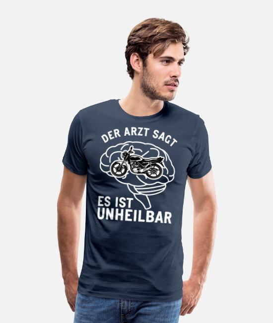 Pilot T-Shirts - The doctor says it is incurable biker motorcycle - Men's Premium T-Shirt navy