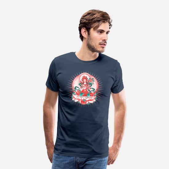 Yoga T-Shirts - Tara - Tibet Buddhism, Lotus, Meditation, Yoga, Om - Men's Premium T-Shirt navy