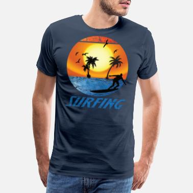 Tiki Sunset surfing3 Sunset retro vintage surf - Men's Premium T-Shirt