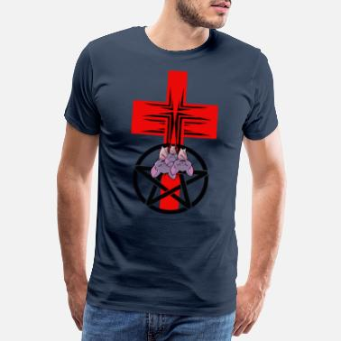Djävulsk Cross Pentagram Bat Satanism Horror - Premium T-shirt herr