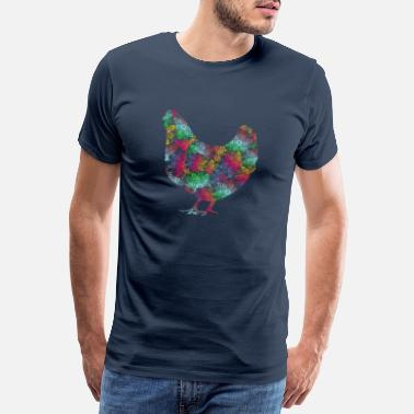 Outline Drawing Chicken, Cock, Spiritual, Streetart, Urban, Outline - Men's Premium T-Shirt