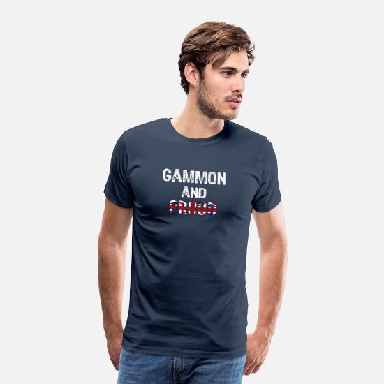 Brexit T-Shirts - Top Fun Brexit gammon and Proud Design - Men's Premium T-Shirt navy
