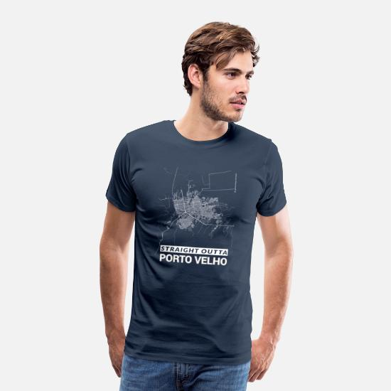 Map T-shirts - Straight Outta Porto Velho city map and streets - Mannen premium T-shirt navy