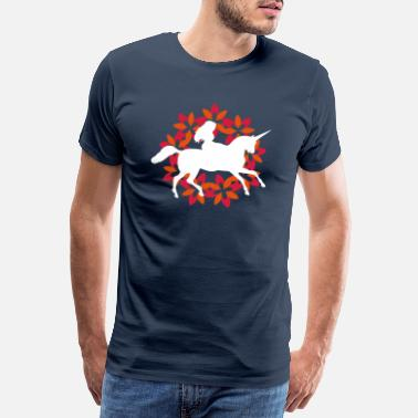 Fairytale Unicorn with Flowers Circle - Men's Premium T-Shirt