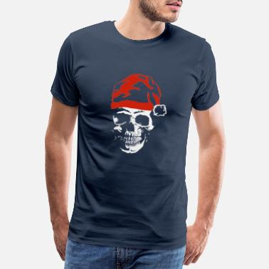 Christmassy Skull with Santa hat, Xmas skull - Men's Premium T-Shirt