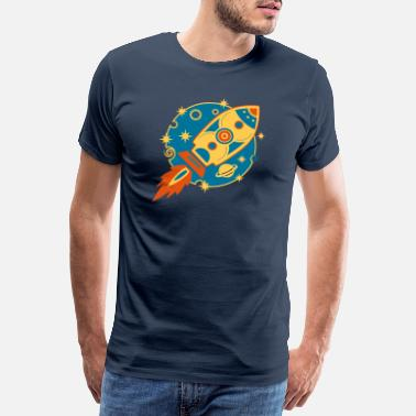 Star Retro Rocket, raket, planeet, sterren, space, star - Mannen premium T-shirt