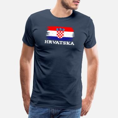 Standing Croatia flag home Hrvatska sport family - Men's Premium T-Shirt