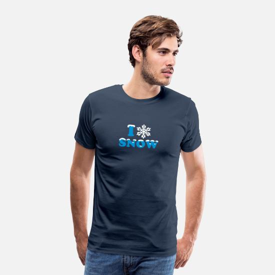 Winter T-Shirts - SNOW, winter, I LOVE , snowflake,heart, apres ski - Men's Premium T-Shirt navy