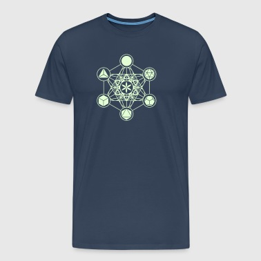 Metatrons Cube, Platonic Solids, Flower of Life - Men's Premium T-Shirt