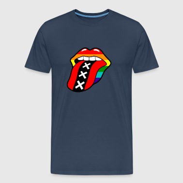 Gay pride rainbow mouth with tongue and Amsterdam logo - Men's Premium T-Shirt