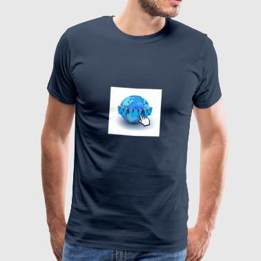 14821565-Internet world-wide-web concept-Earth-glo - Men's Premium T-Shirt