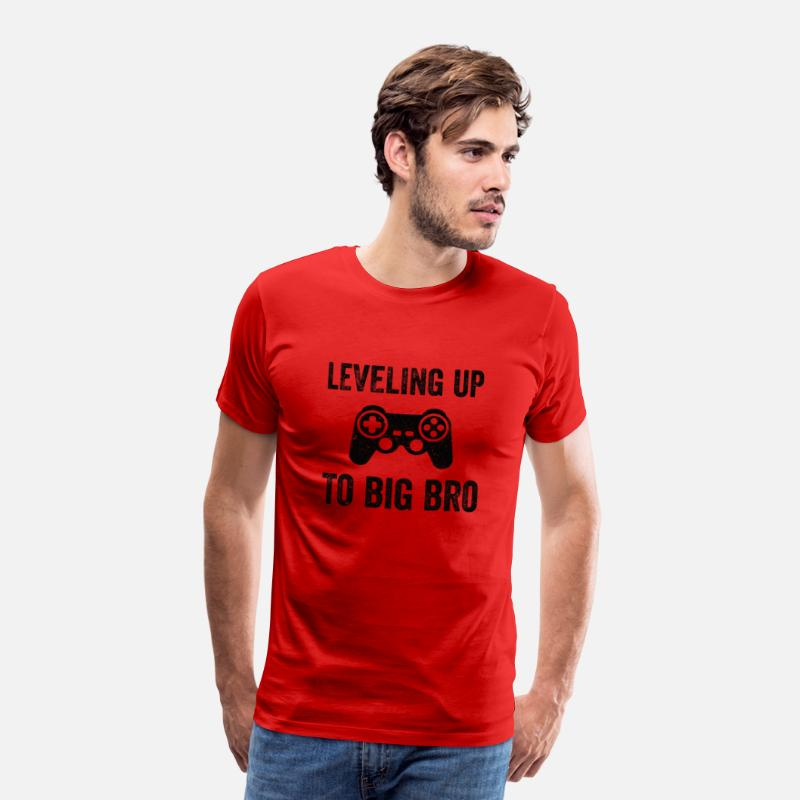 Love T-Shirts - LEVELING UP TO BIG BRO Funny Brother T-Shirt - Men's Premium T-Shirt red