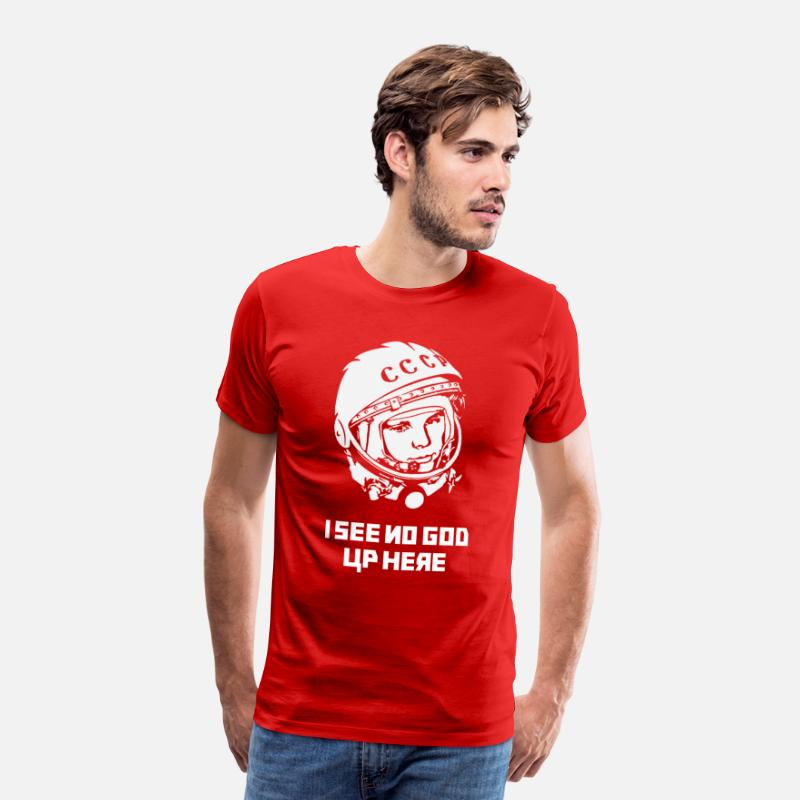 Astronaut T-Shirts - Gagarin I see no god up here - Men's Premium T-Shirt red