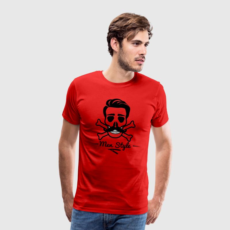 Skull Barber Hairdresser Men Style Skullhead - Men's Premium T-Shirt