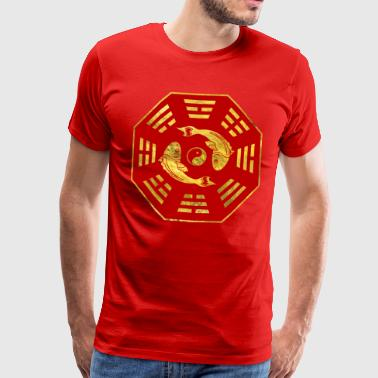 Luxury  Red on gold Pair of Koi Fish in Bagua - Men's Premium T-Shirt