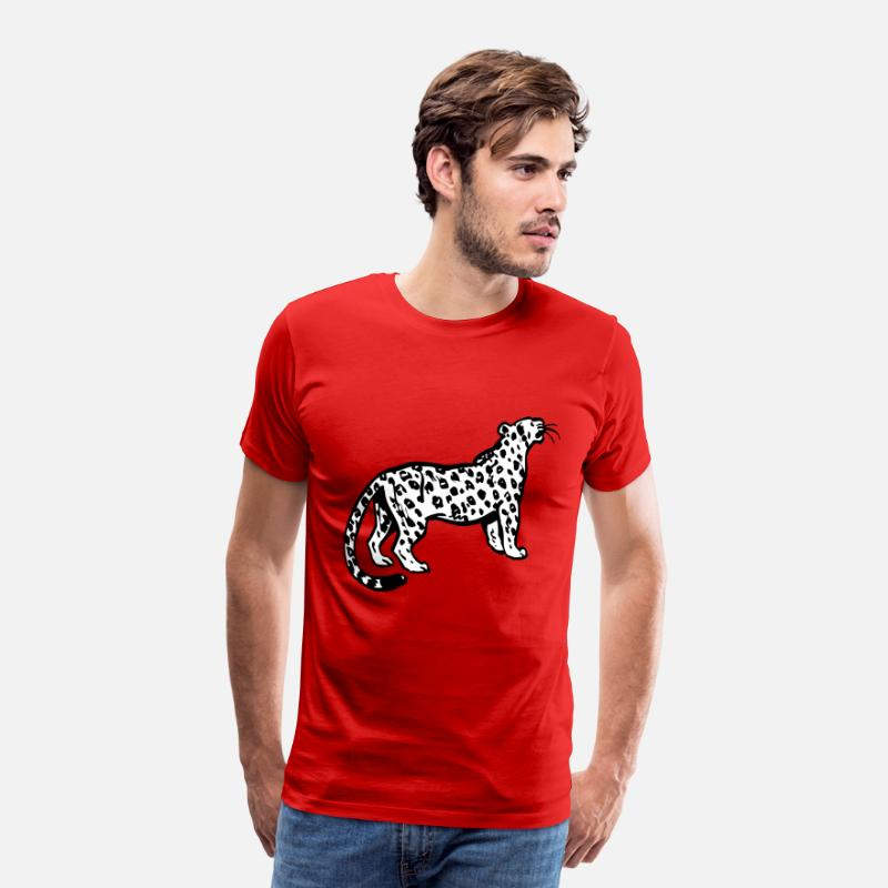 Leopard T-Shirts - Curious Leopard by Cheerful Madness!! - Men's Premium T-Shirt red