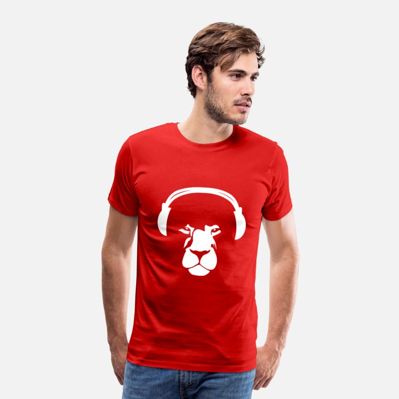 Music T-Shirts - Lion with Earphones - Men's Premium T-Shirt red