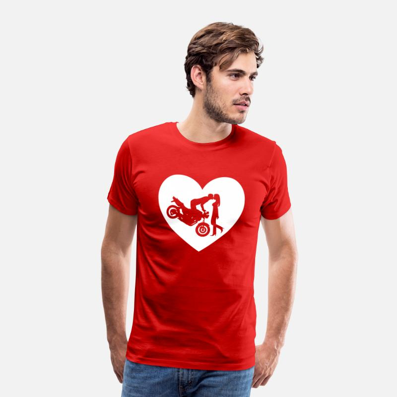 Heart T-Shirts - Motorcycle kiss Naked Bike Heart - Men's Premium T-Shirt red