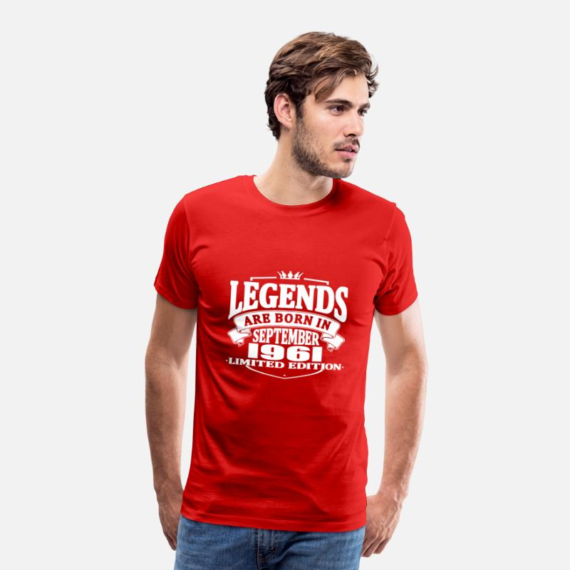 Established T-shirts - Les légendes sont nées en septembre 1961 - T-shirt premium Homme rouge