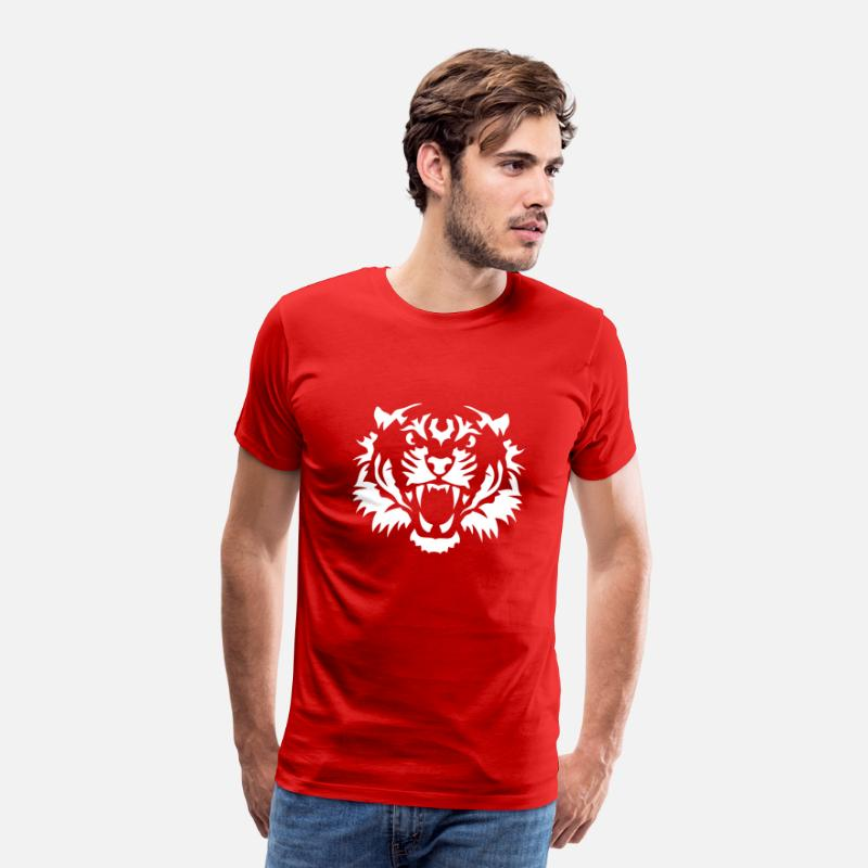Animal Sauvage T-shirts - tete tigre animaux sauvage 10090 - T-shirt premium Homme rouge