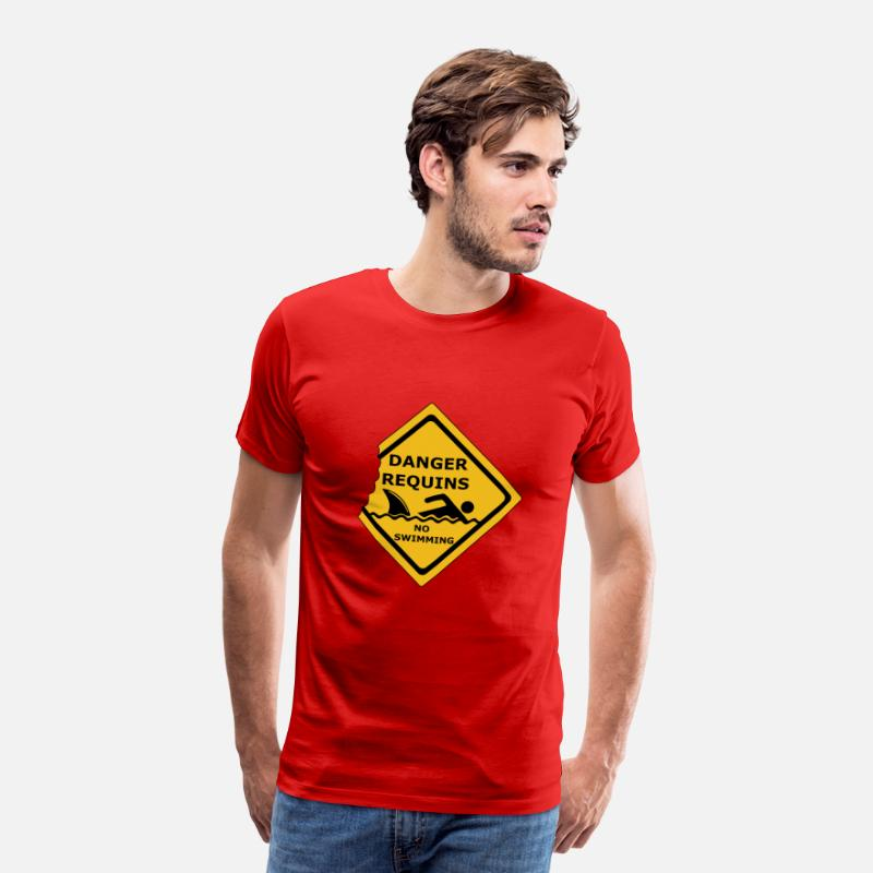 Risque T-shirts - danger requins - T-shirt premium Homme rouge