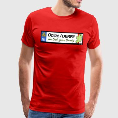 DERRY, NORTHERN IRELAND licence plate tags decal - Men's Premium T-Shirt