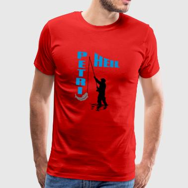 Angler with fish on the hook - Petri Heil - Men's Premium T-Shirt