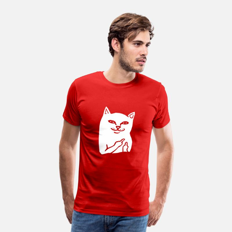 Gift T-Shirts - Fuck You Cat - Mannen premium T-shirt rood