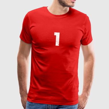 1- Grunge, number 1, number one, 1, one - Men's Premium T-Shirt
