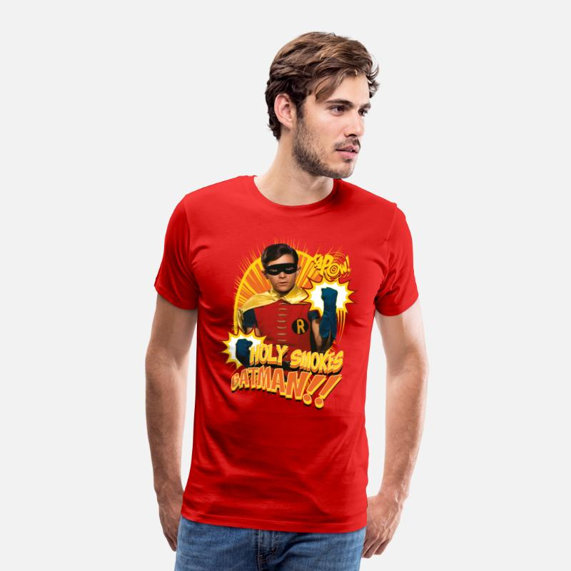 Officialbrands T-Shirts - DC Comics Batman Robin Holy Smokes Quote - Mannen premium T-shirt rood