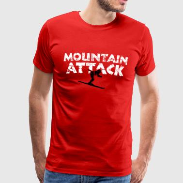 MOUNTAIN ATTACK Winter Sports Ski Design (B&W) - Mannen Premium T-shirt