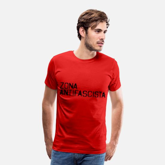 New T-Shirts - ANTIFASCIST ACTION ZONE GEGENDEMO ACTIVIST - Men's Premium T-Shirt red