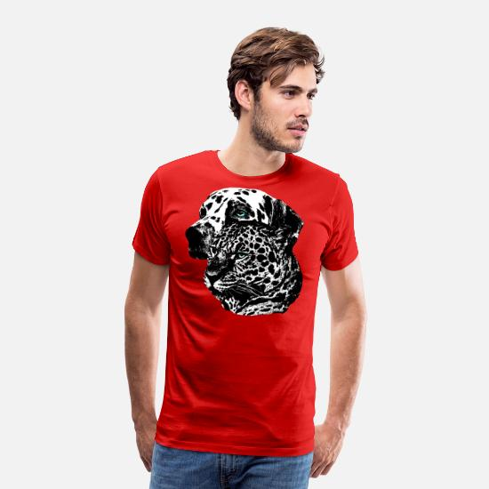 Dog T-Shirts - Dalmatian dog face, dog head, dogs, dog - Men's Premium T-Shirt red