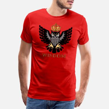 Lord King Royal Wisdom - The Owl in Crown - Men's Premium T-Shirt