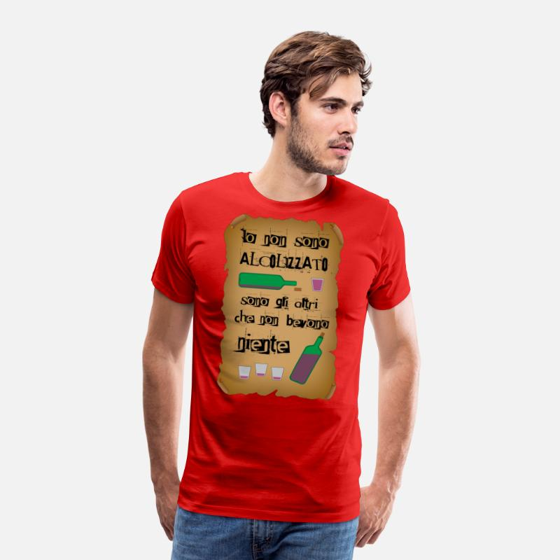 "Alcohol T-Shirts - Sentence ""I'm not an alcoholic"" - Men's Premium T-Shirt red"