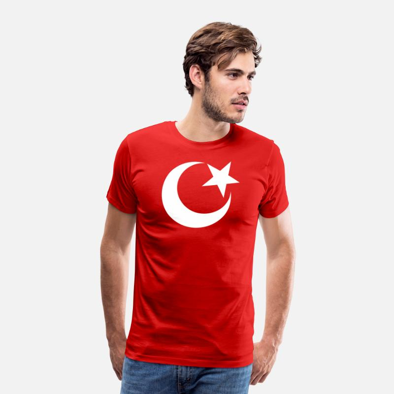 Red T-Shirts - ISLAM, half-moon, Christian, church, Turkey, mosque, cross, Muezzin, minaret, flag, flag, David star, Jew, God, Israel, synagogue, Aaron, hexadecimal gram, religion, Amen, benediction, Imam  - Men's Premium T-Shirt red