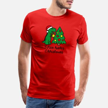 T-Rex hates Christmas decorate Christmas tree - Men's Premium T-Shirt