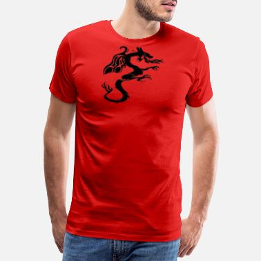 Tribal Dragon Tattoo Fire Dragon Black Dragon Tribal Dragon head / dragon design in black - Men's Premium T-Shirt