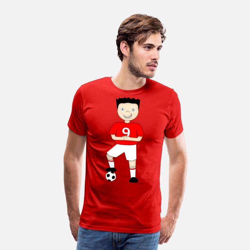 England T-Shirts - Cartoon Football Plater in Red and White Strip - Men's Premium T-Shirt red