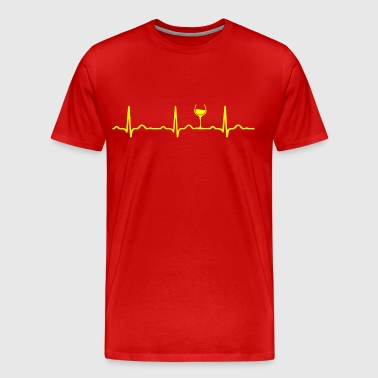ECG HEARTBEAT WINE yellow - Men's Premium T-Shirt