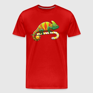 Christmas Chameleon on a Candy Cane - Men's Premium T-Shirt