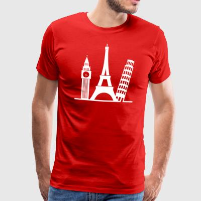 Europa / London, Paris, Pisa - Premium T-skjorte for menn