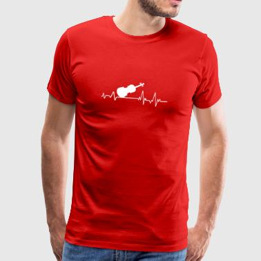 Heartbeat to musician T-shirt gift violin - Men's Premium T-Shirt