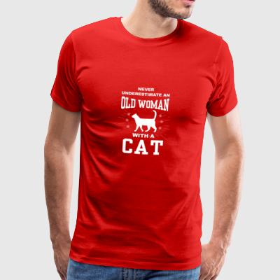 Never Underestimate An Old Woman With A Cat - Men's Premium T-Shirt