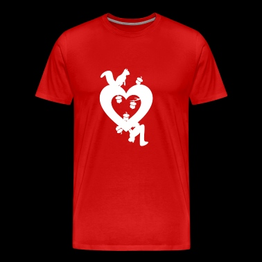 Squirrel Nuts with Love Heart, Love Squirrels - Men's Premium T-Shirt