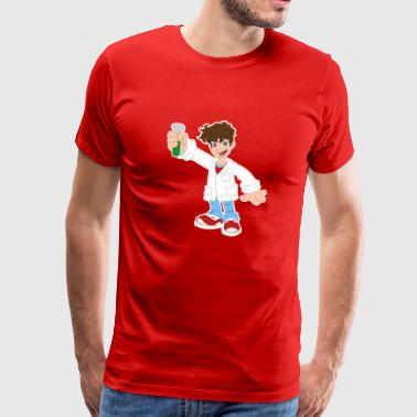 Cartoon Scientist Test Tub Heurika Gift - Premium-T-shirt herr