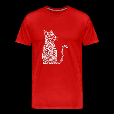 Chat Tribal blanc - T-shirt Premium Homme