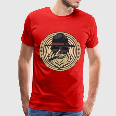 head of death hipster cigar bearded skull crane chap - Men's Premium T-Shirt