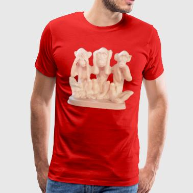 3 monkeys see nothing, hear and say nothing. - Men's Premium T-Shirt